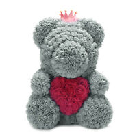 16 inch Gray Bear Holding Red Heart Crown Rose Bear Roses Flower Birthday Gifts