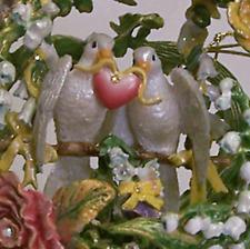 Secret Worlds of Love New MIB White Dove Pewter Garden Sphere Bejeweled Enameled