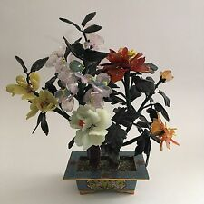 "Vintage Cloisonné Asian Japanese Flowers Jade Stone 9"" Bonsai Tree"