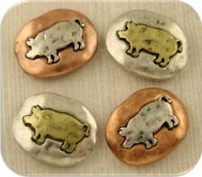 2 Hole Beads Pig Swine Rustic Squovals Barn Farm Animal 3T Metal Sliders QTY 4