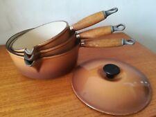 3 x Vintage Cast Iron Brown Le Creuset Saucepans