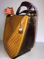 NWT Marino Orlandi Embossed Logo Leather Shoulder Sling Bag 1977 Handbag Italy