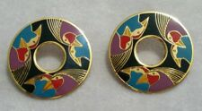 "Laurel Burch ""Birds Of Santorini"" Cloisonne & Gold Post Earrings Rare Great Cond"