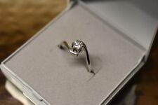 9CT white gold & cubic zirconia ring size K marked OG