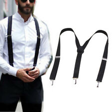 Mens Braces Suspenders Black 23mm Y Back Heavy Duty Biker Snowboard Trousers
