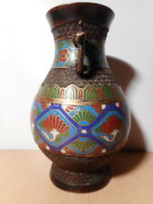 Vase chinois ancien Chine 19 siècle bronze émail émaux cloisonné oiseau fleur