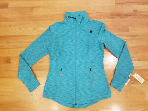 New Womens Tangerine Active Woven Jacket Full Zip Running Yoga Teal M Stretch