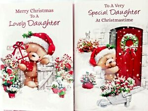 DAUGHTER CHRISTMAS CARD  ~ CHOICE OF 2 CUTE DESIGNS ~ QUALITY CARD & NICE VERSE