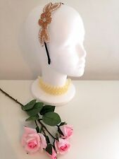 VINTAGE ART DECO 1920s ROSE GOLD WHITE FLAPPER FASCINATOR HEADBAND GATSBY BRIDAL