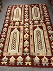 5x8 Feet Handmade vintage Uzbek Maimana Vegetable Dye Natural Colors Wool Kellim