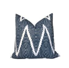 Blue Lacefield Bali Pillow Cover 18x18 Geometric Chevron Decorative Cushion