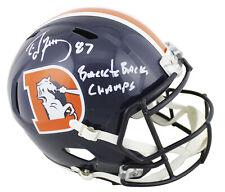 "Broncos Ed McCaffrey ""B2B Champs"" Signed Color Rush F/S Speed Rep Helmet JSA"