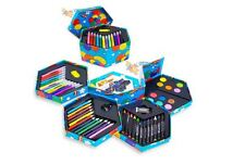 Childrens Art And Craft Set Hexagonal Box Crayons Paints Pens Pencils 52pcs New