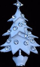 "SILVER WHITE ENAMEL CLEAR RHINESTONE CHRISTMAS TREE PIN BROOCH JEWELRY 2"" 3D"