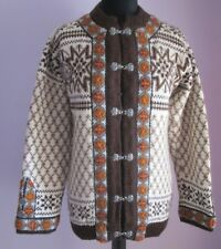VTG Ladies DALE OF NORWAY Brown/Cream Buckle Wool Nordic Cardigan Size M (J91)