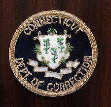 """Connecticut CT Dept of Correction Bullion Patch 3"""" Circle Hand Sewn MADE IN USA"""