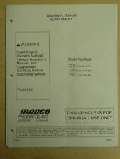 Manco 723 725 783 Stock Kar Pick-Up Supplement Operator Parts List Manual Cart
