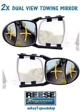 REESE DUAL VIEW TOWING MIRRORS trailer hitch camper rv truck clip on mirror boat