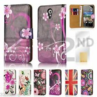 32nd Book Wallet PU Leather Case Cover for HTC Desire 620 + Screen Protector