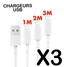3-PACK 1M 2M 3M USB Data Chargeur Câble Cordon Pour Apple iPhone S 6 7 8 X Plus