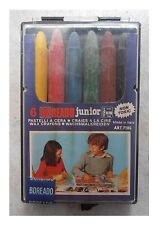 6 pastelli a cera vintage Boreado junior con scatola in plastica