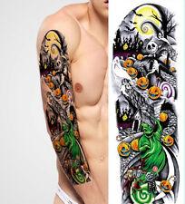 FULL BRACCIO TATUAGGIO XXL Fake Tattoo una volta Tatuaggio Helloween Ghost 44,5x15cm qb-3001