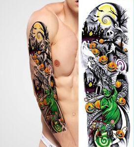 Full Arm Tattoo XXL Fake Tattoo Einmal Tattoo Helloween Ghost 44,5x15cm QB-3001