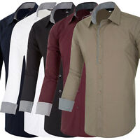 Dashing Shirts Mens Casual Formal Slim Fit Dress Shirt S M L XL T-Shirt Tee Tops