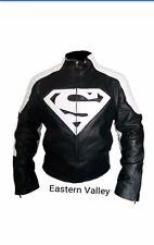 New Mens SUPERMAN Motorcycle Racing Biker 100%Cowhide Leather Jacket CustomMADE