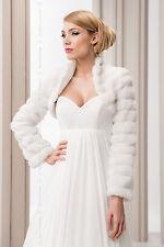 Women Wedding Bridal Faux Fur Jacket Bolero Three Quarter Sleeve B-27