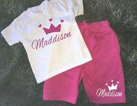 Personalised girls princess print leggings /& t-shirt set any name dance