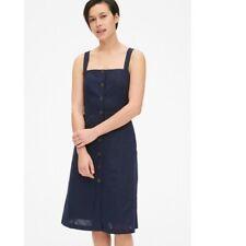 GAP Button Front Sleeveless Apron Front Dress Navy Blue Linen Blend Size 10 Tall
