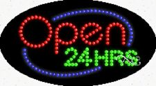 """New """"Open 24 Hrs"""" 27x15 Oval Solid/Animated Led Sign w/Custom Options 24057"""