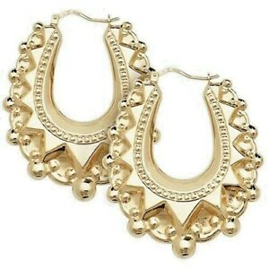 Victorian 9ct Yellow Gold on Silver LARGE Spiked Oval Gypsy Creole Hoop Earrings
