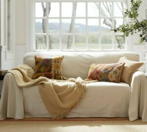 Pottery barn twill dropcloth loose-fit slipcover for sofa beige NWT