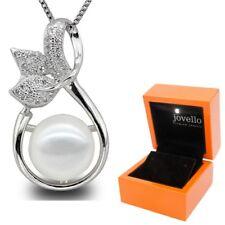 Perlen Anhänger mit Halskette aus 925 Silber mit 10mm Zuchtperle + LED Holzbox