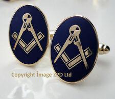 ZP311 Masonic Masons Cufflinks Freemason Square Compass Vintage Style in Blue