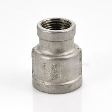 """Nipple 1/2"""" x 3/8"""" Female Stainless Steel 304 Threaded Reducer Pipe Fitting BSPT"""
