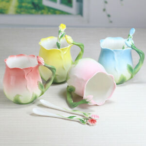 Romantic Rose Flower Porcelain Coffee/ Tea Cup with Spoon Ceramic Mug 320mL