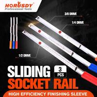 3pc Socket Organizer 1/4 3/8 1/2 Sliding Holder Steel Rail Tool Storage Handle