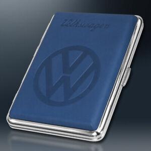 VW Zigarettenetui | BLAU Metall | Volkswagen Lizenzware | Lederoptik geprägt