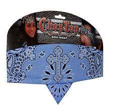 Blue Cross Rhinestones Paisley Chop Top Bandanna Head Wrap Sweatband Headband