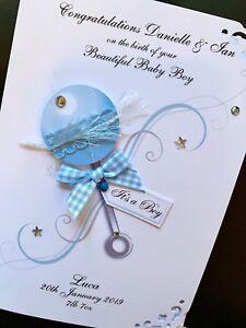 Hand-Made Personalised Handmade 'Baby Boy Rattle' Birth Card (5x7 card)