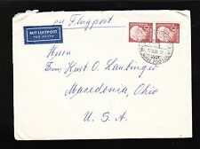 Germany 60p Heuss Vertical Pair 1954 Cologne Air Etiquette Cover to USA 4t
