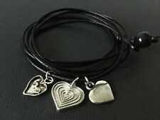 BLACK real leather wrap bracelet with tibetan love heart charms boho festival