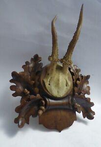 wow Antique German Black Forest Carved DEER ANTLER PLAQUE Hunt 1902 Oak leave