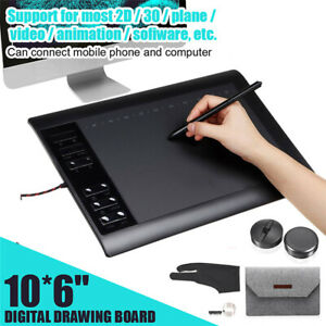 10*6 inch Graphics Tablet 8192 Levels Graphic Drawing Tablet 233 Point w/ Pen