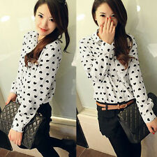 Chiffon Turn-down Collar Women Long Sleeve Shirt Office Heart Sweet Blouse M US