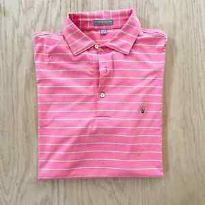 Mens PETER MILLAR Summer Comfort Striped Stretch Performance Polo Shirt M Pink