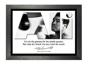 Muhammad Ali 48 Motivational Quote Black And White Signed Photo Picture Poster